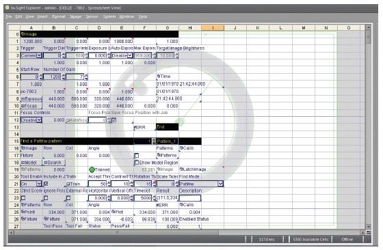 Systemy wizyjne serii In-Sight 7000 Gen.2 0 Spreadsheet